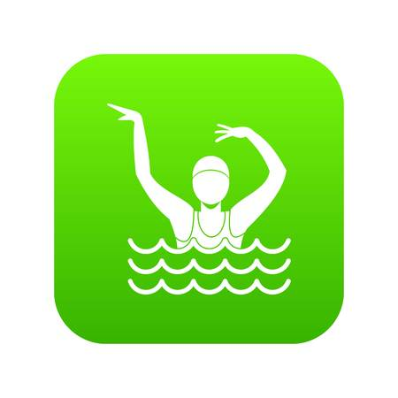 Swimmer in a swimming pool icon digital green for any design isolated on white vector illustration Stock Illustratie