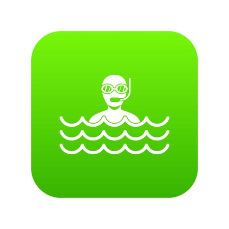 Man with scuba icon digital green for any design isolated on white vector illustration 向量圖像