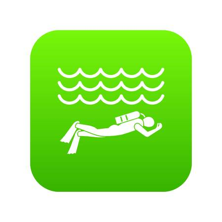 Scuba diver man in diving suit icon digital green for any design isolated on white vector illustration
