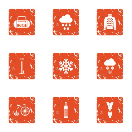 Weather sport icons set. Grunge set of 9 weather sport vector icons for web isolated on white background 일러스트