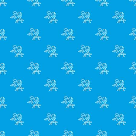 Protozoan virus pattern vector seamless blue repeat for any use  イラスト・ベクター素材