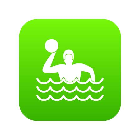 Water polo icon digital green for any design isolated on white vector illustration