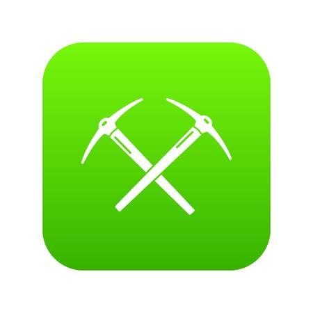 Mining pickaxe icon green vector Illustration