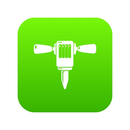 Mining hammer drill icon green vector