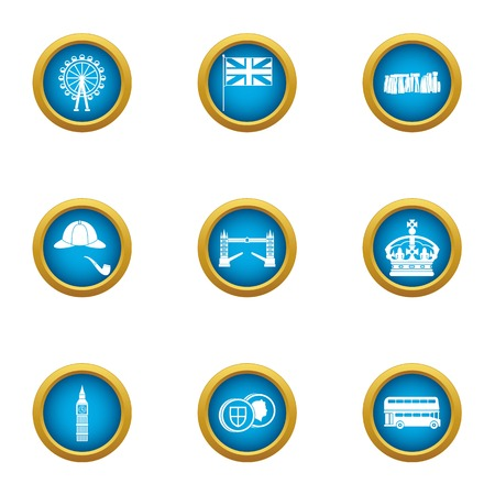 London icons set. Flat set of 9 london vector icons for web isolated on white background