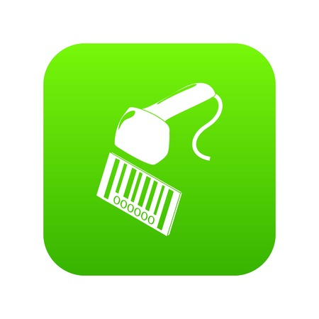 Market code scanner icon green vector isolated on white background