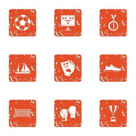 Sport luck icons set. Grunge set of 9 sport luck vector icons for web isolated on white background