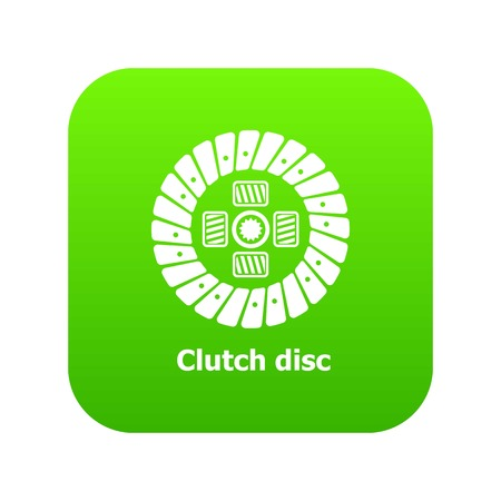 Clutch disc icon green vector isolated on white background