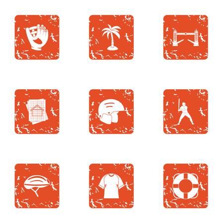 Modern municipal icons set. Grunge set of 9 modern municipal vector icons for web isolated on white background Çizim