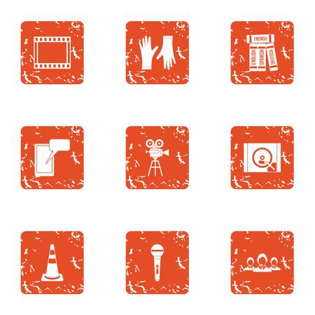 Video montage icons set. Grunge set of 9 video montage vector icons for web isolated on white background