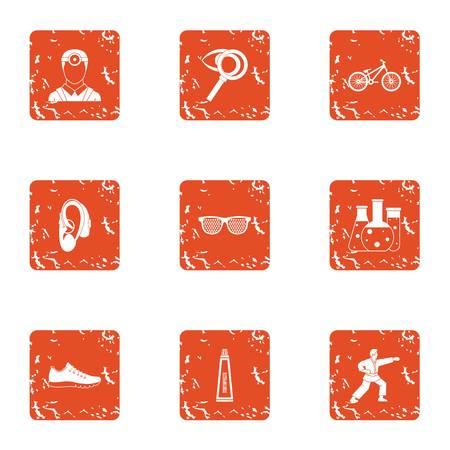 Sense organ icons set. Grunge set of 9 sense organ vector icons for web isolated on white background