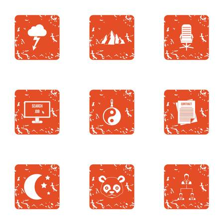 Orientalism icons set. Grunge set of 9 orientalism vector icons for web isolated on white background Ilustração