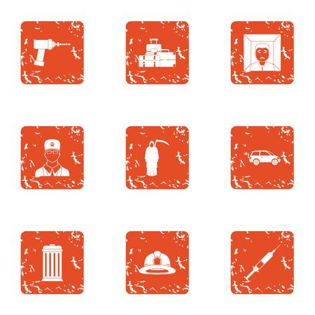 Procedure icons set. Grunge set of 9 procedure vector icons for web isolated on white background 向量圖像