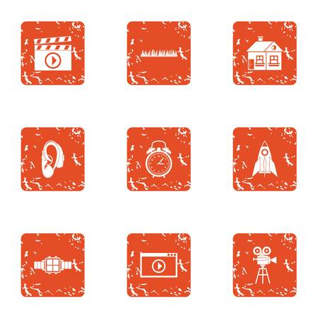Reality show icons set. Grunge set of 9 reality show vector icons for web isolated on white background