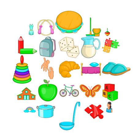 Childminder icons set. Cartoon set of 25 childminder vector icons for web isolated on white background