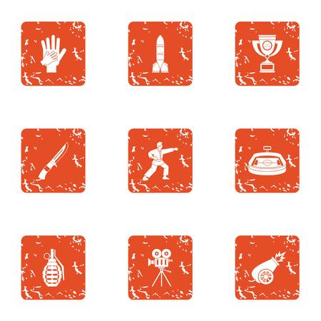 Karate diet icons set. Grunge set of 9 karate diet vector icons for web isolated on white background