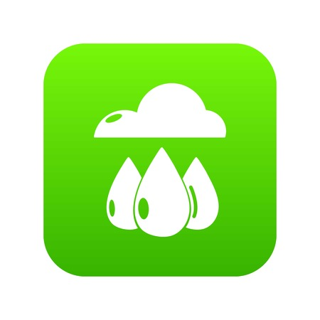 Rain weather icon green vector isolated on white background