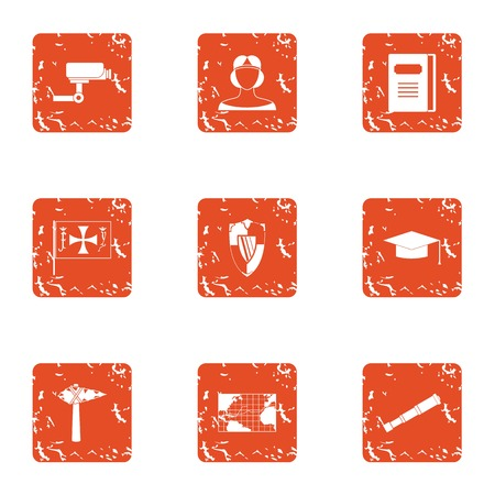 Hidden camera icons set, grunge style Illustration