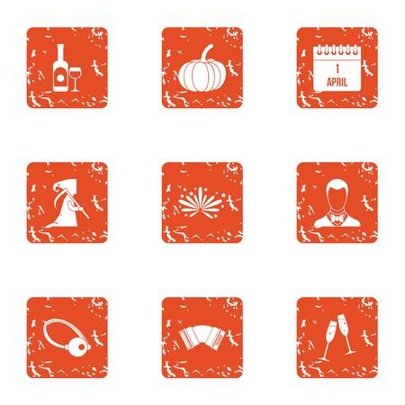 Prank icons set. Grunge set of 9 prank vector icons for web isolated on white background Ilustração