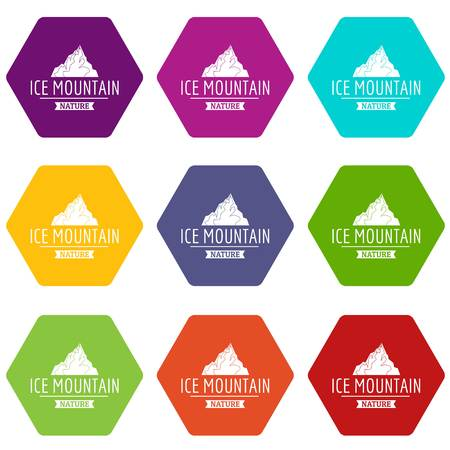 Ice mountain icons 9 set coloful isolated on white for web