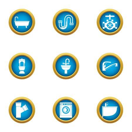 Latrine icons set, flat style