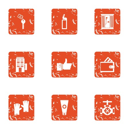 Hotel suite icons set. Grunge set of 9 hotel suite vector icons for web isolated on white background