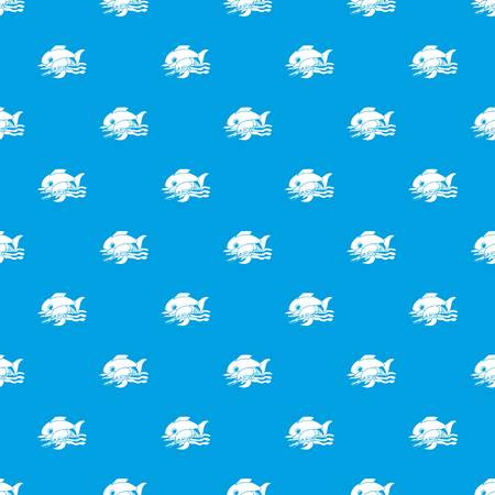 Sea food pattern vector seamless blue repeat for any use Illustration