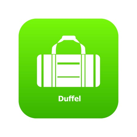 Duffel icon green vector isolated on white background