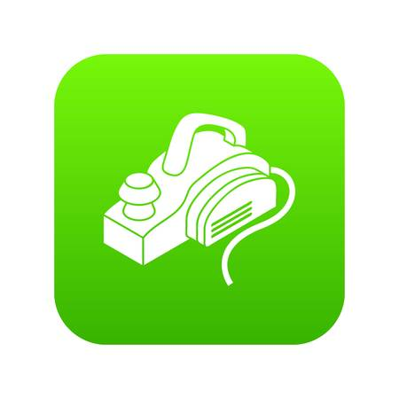 Hand power tool icon green vector isolated on white background
