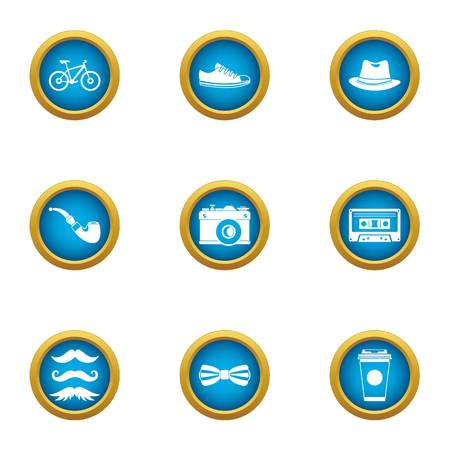 Old hipster icons set. Flat set of 9 old hipster vector icons for web isolated on white background