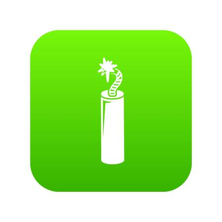 Mine dynamite icon green vector