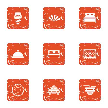 Hotel room icons set. Grunge set of 9 hotel room vector icons for web isolated on white background Illustration