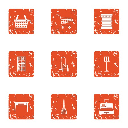 Hardware store icons set. Grunge set of 9 hardware store vector icons for web isolated on white background