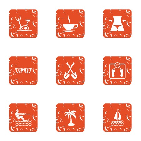 Heavenly place icons set. Grunge set of 9 heavenly place vector icons for web isolated on white background