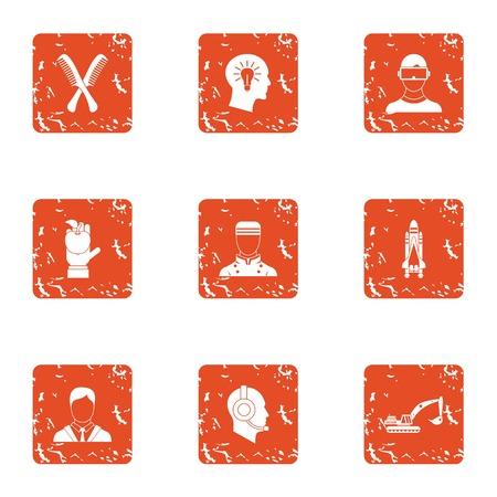 Employee of the month icons set. Grunge set of 9 employee of the month vector icons for web isolated on white background 일러스트