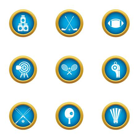 Gym athletic icons set. Flat set of 9 gym athletic vector icons for web isolated on white background