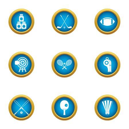 Gym athletic icons set. Flat set of 9 gym athletic vector icons for web isolated on white background Illusztráció