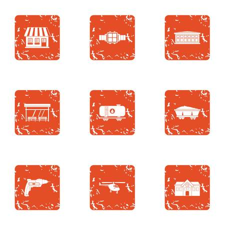 Office building icons set. Grunge set of 9 office building vector icons for web isolated on white background