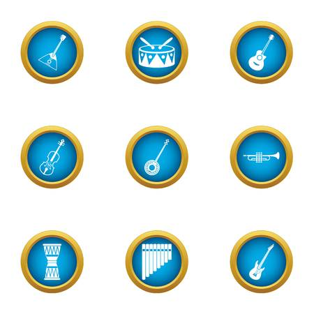 Music naturally icons set. Flat set of 9 music naturally vector icons for web isolated on white background