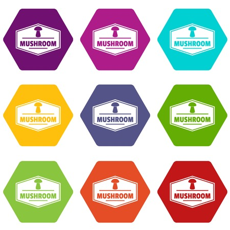 Mushroom healthy icons 9 set coloful isolated on white for web Ilustrace