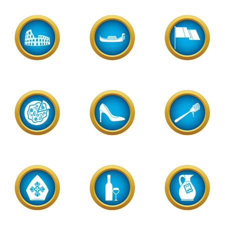Rom icons set. Flat set of 9 rom vector icons for web isolated on white background