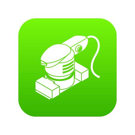 Sheet sander icon green vector isolated on white background Stock Illustratie