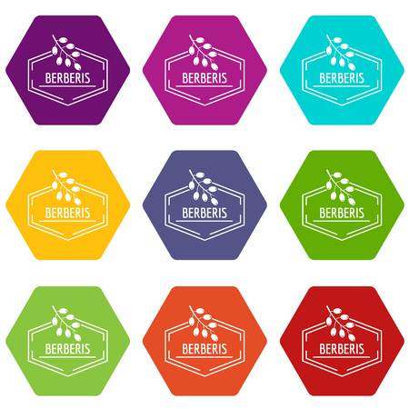 Berberis icons set 9 vector