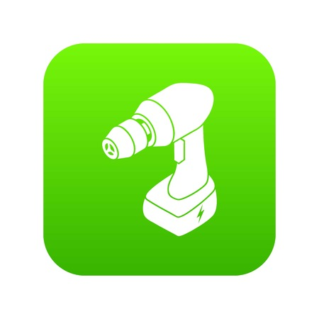 Cordless drill icon green vector isolated on white background