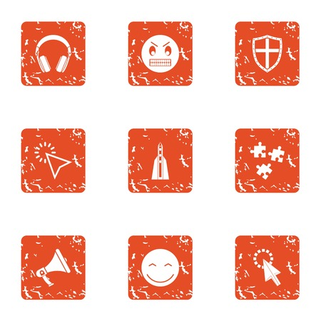 Raise spirit icons set. Grunge set of 9 raise spirit vector icons for web isolated on white background Ilustração