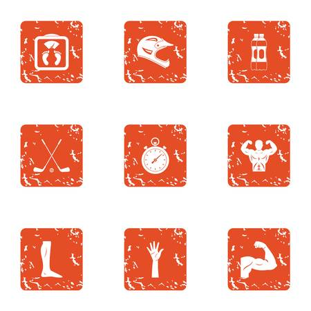 Strengthen body icons set. Grunge set of 9 strengthen body vector icons for web isolated on white background Foto de archivo - 130232602