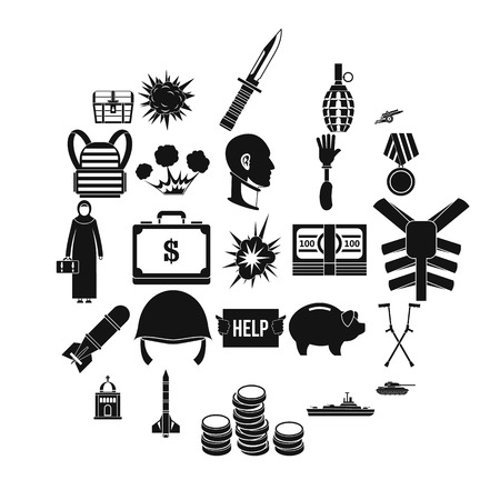War crime icons set. Simple set of 25 war crime vector icons for web isolated on white background Çizim