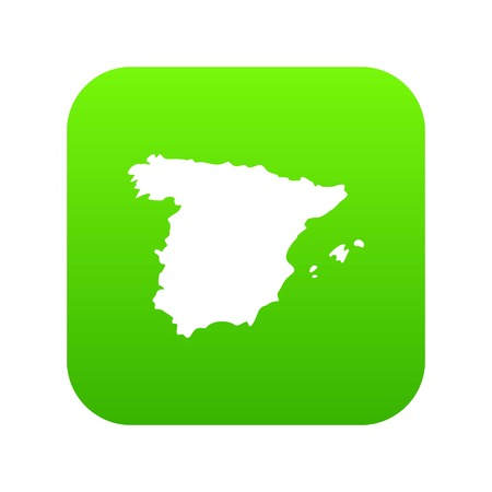 Map of Spain icon digital green