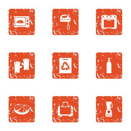 Galley icons set. Grunge set of 9 galley vector icons for web isolated on white background Illustration