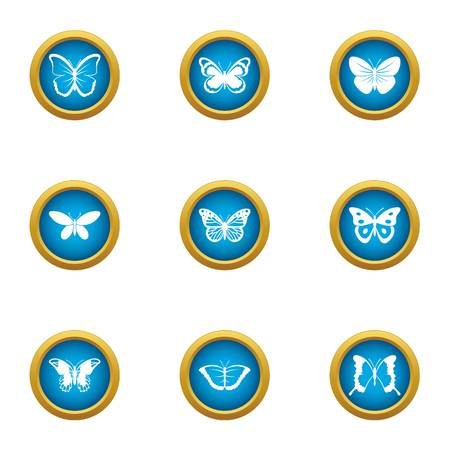Pipistrelle icons set. Flat set of 9 pipistrelle vector icons for web isolated on white background